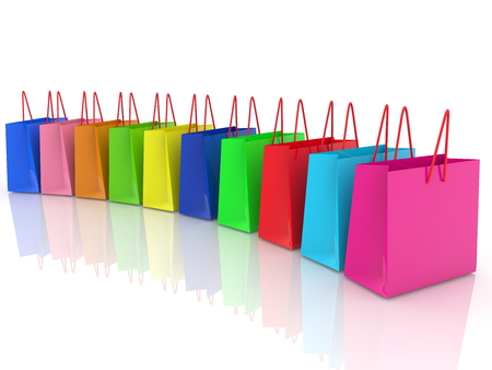 Row of colorful shopping bags