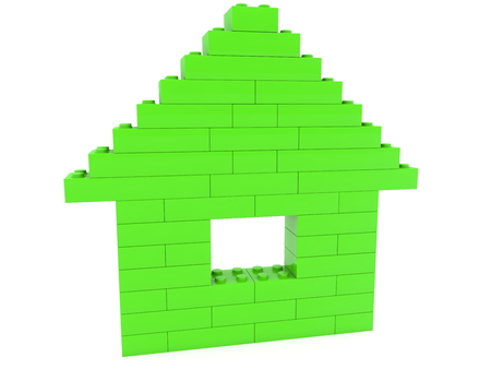 Green house built from toy bricks