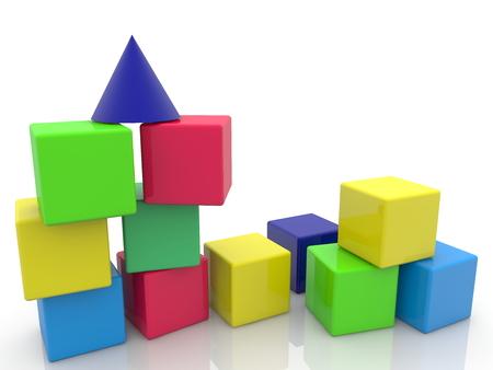 Randomly stacked toy cubes Stock Photo
