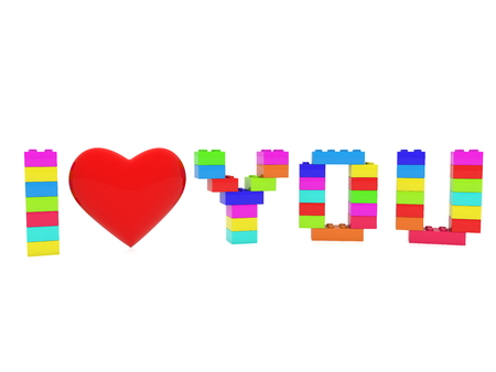 I love you concept build from toy bricks