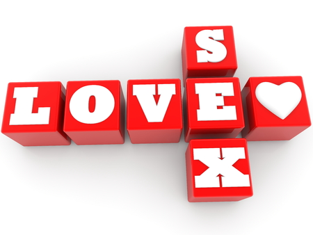 Love and sex concept on cubes