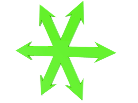 Green arrows to all sides