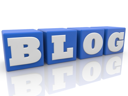Blog concept in blue color toy cubic Stock Photo