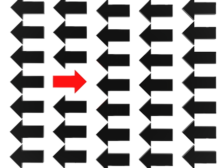 Opposite direction red arrow against black arrows on white background Stock Photo