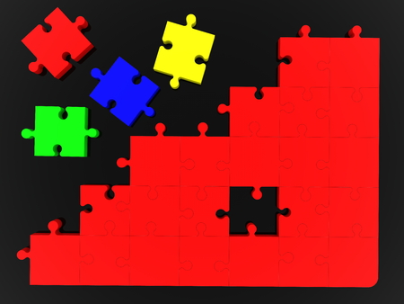 Top view on unfinished puzzle in black background Stock fotó