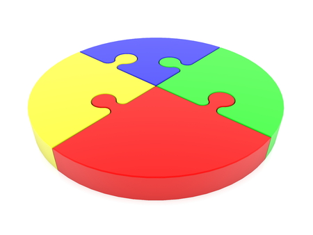 Round puzzle pieces in various colors on white background