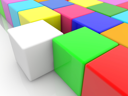 White cube between colorful toy cubes Archivio Fotografico - 111416005