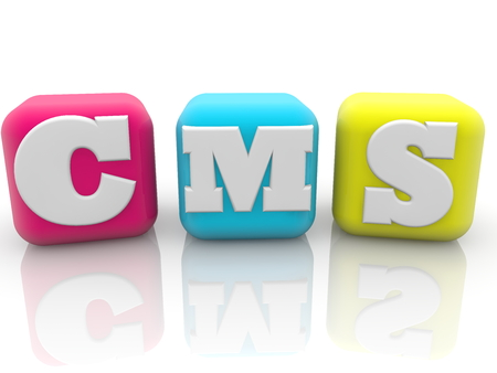 CMS concept on colorful cubes on white background Stock Photo