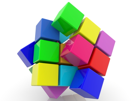 Abstract design from colored toy cubes Archivio Fotografico - 111416332
