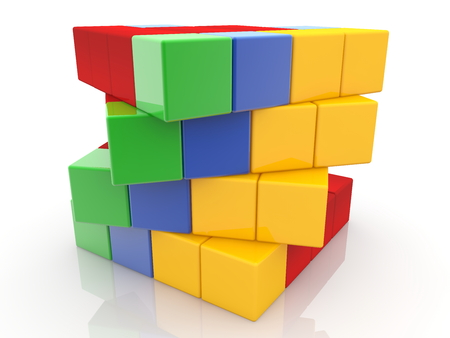 Abstract design from colored toy cubes Archivio Fotografico - 115106659