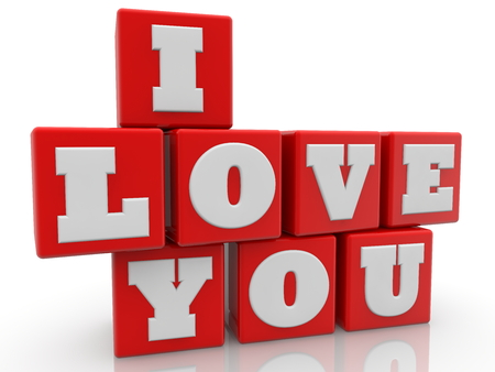 I love you concept on red color cubes on white background Banco de Imagens