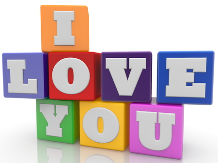 I love you concept on colorful cubes on white background