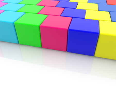 Colorful toy cubes stacked in rows Archivio Fotografico - 115106684