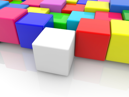 Toy cube in white between colorful toy cubes Archivio Fotografico - 115106687