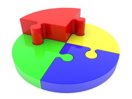 Shape of puzzle in four colors Archivio Fotografico - 119894190