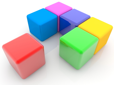 Colorful cubes in abstract composition Archivio Fotografico - 119669033