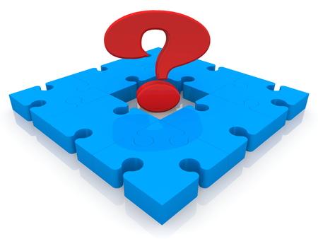 Question mark sign on blue puzzle Archivio Fotografico - 115106783