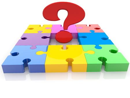 Question mark sign on colorful puzzle Archivio Fotografico - 115106785