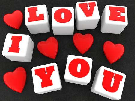 I love you concept on white cubes on black Archivio Fotografico - 115106872