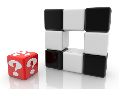 Red cube with question mark near black and white cubes Archivio Fotografico - 115106895