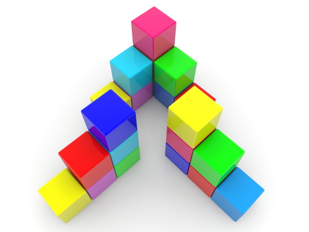 Abstract pyramid construction of colorful cubes Archivio Fotografico - 115106905