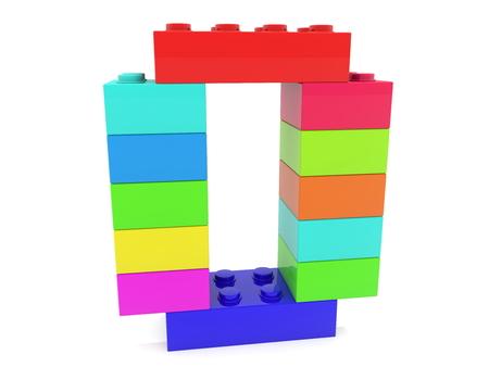 Zero concept build from colorful toy bricks Archivio Fotografico - 119894472