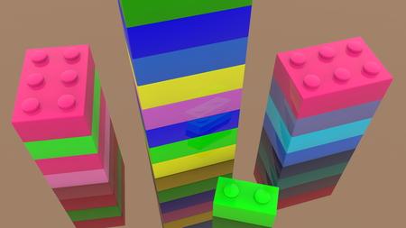 Colorful towers of toy bricks Archivio Fotografico - 119894534