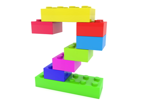 Number two concept build from colorful toy bricks Archivio Fotografico - 119894570