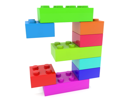 Number three concept build from colorful toy bricks Archivio Fotografico - 119894571