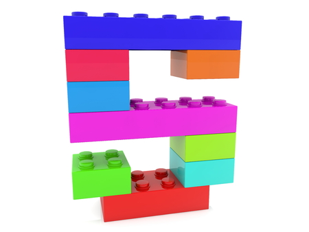Number five concept build from colorful toy bricks Archivio Fotografico - 119894581