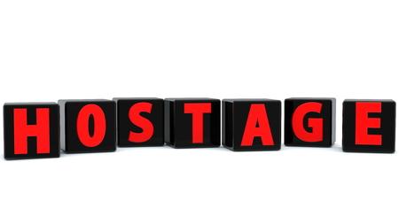 Hostage concept on black cubes Standard-Bild - 119625994