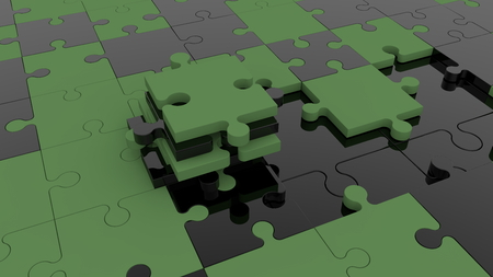 Unfinished puzzle concept in black and dark green Stock fotó