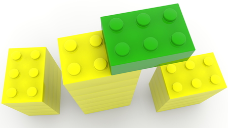 Top view on towers of toy bricks in green and yellow colors Archivio Fotografico - 121771675