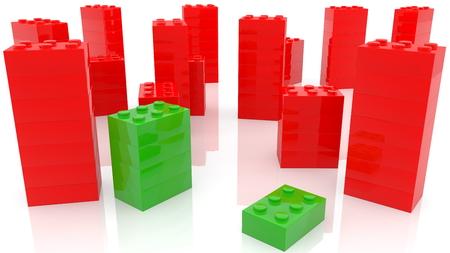 Toy bricks concept in green and red colors Archivio Fotografico - 121771678