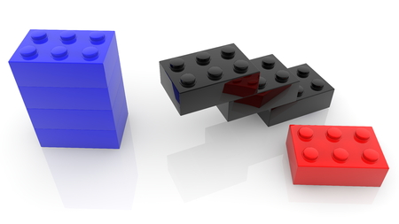 Concept of unfinished construction of toy bricks Stock fotó