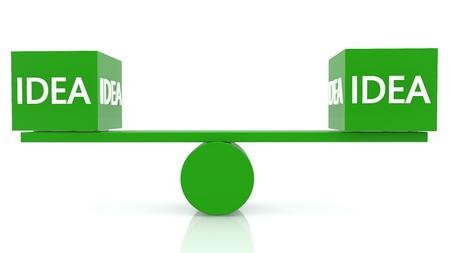 Seesaw balance with idea concept in green color Archivio Fotografico - 125066145