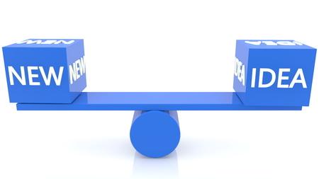 Seesaw balance with new idea concept in blue colors Archivio Fotografico - 125066146