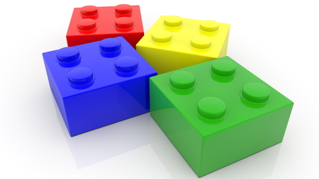 Four small colorful toy bricks on white Archivio Fotografico - 122712829