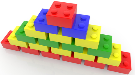 Concept of toy bricks in various colors stacked in pyramid Archivio Fotografico - 122712831