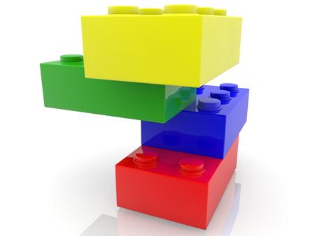 Tower of colorful toy bricks Archivio Fotografico - 122712947