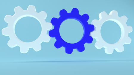 Concept of gears in white and blue colors on blue background