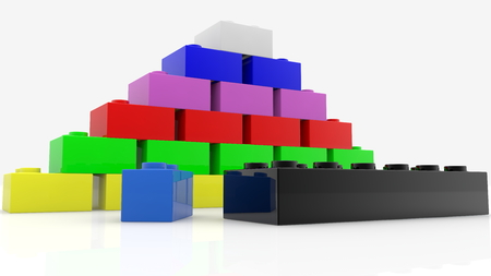 Concept of colorful toy bricks in various colors Archivio Fotografico - 122713088