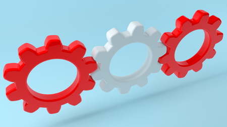 Concept of gears in white and red colors Imagens