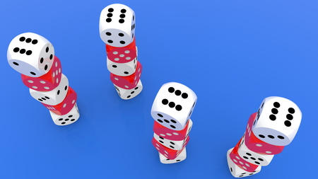 Four towers of dices in red and white on blue top view