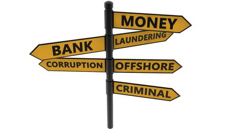 Signpost with Money laundering concept in yellow color on white Foto de archivo - 128242420