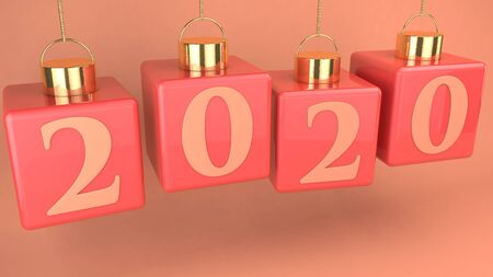 Hanging cubes in coral with new year concept 写真素材 - 128874681