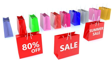 Shopping bags with Summer sale concept