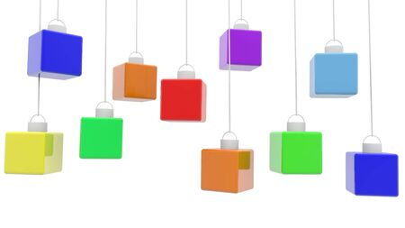 Abstract hanging cubes in various colors on white