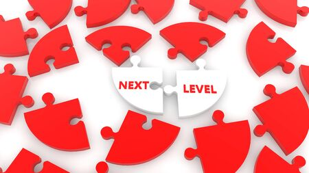 Randomly stacked puzzle in red and white colors with next level concept Stok Fotoğraf