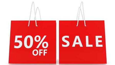 Shopping bags with fifty off percent and sale concept in red color Stok Fotoğraf